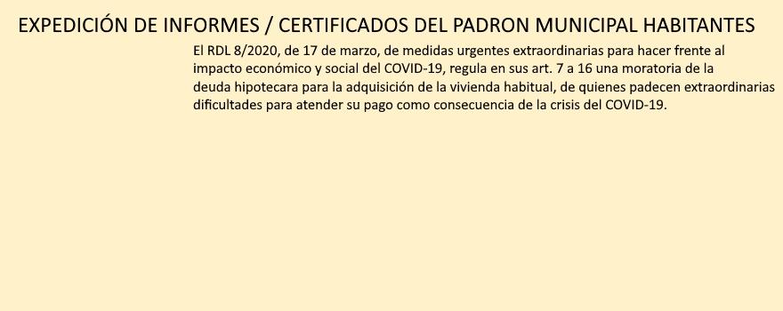 certificados padron covid-19